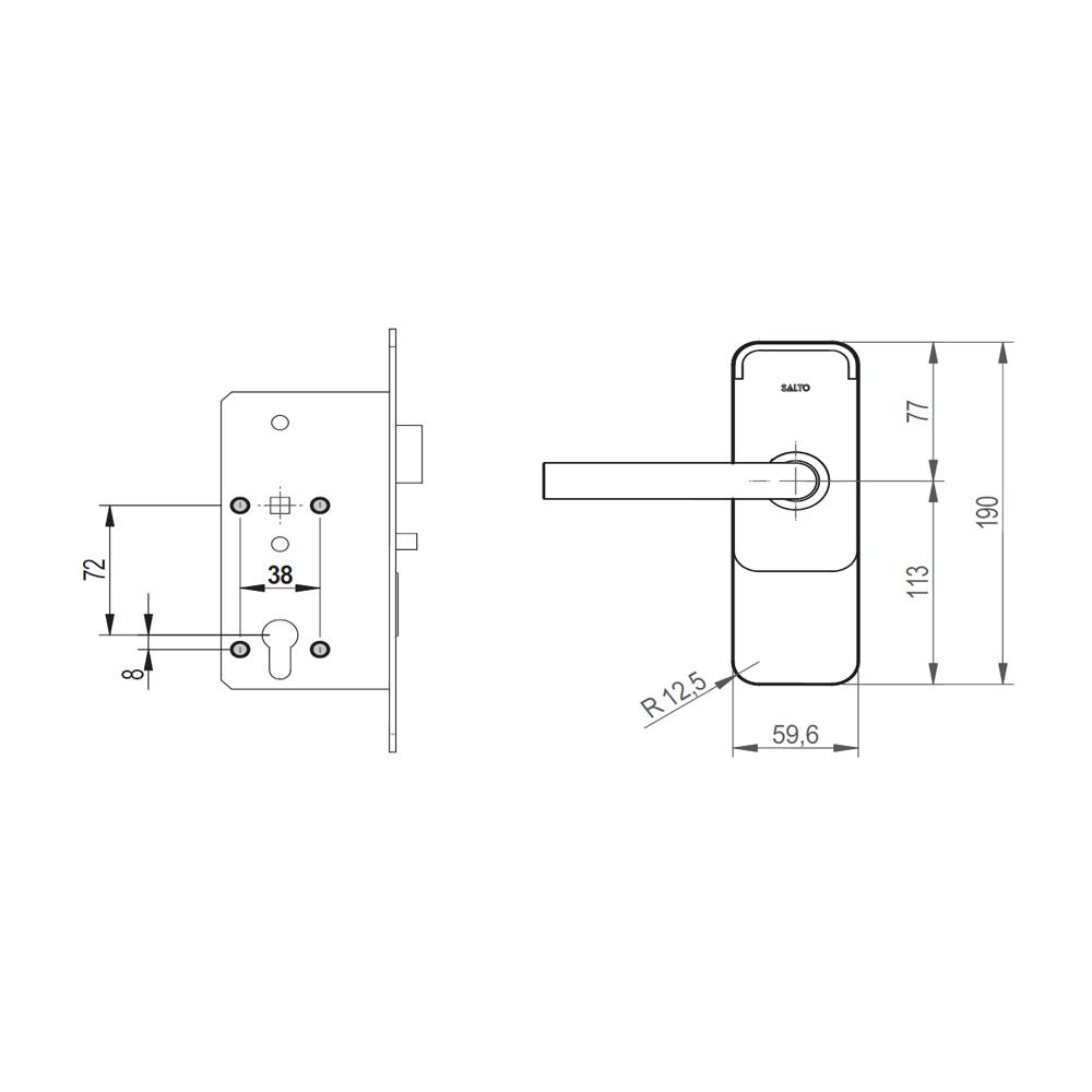 SALTO - Abdeckplatte 059 (DIN 72) für XS4 Mini Beschlag