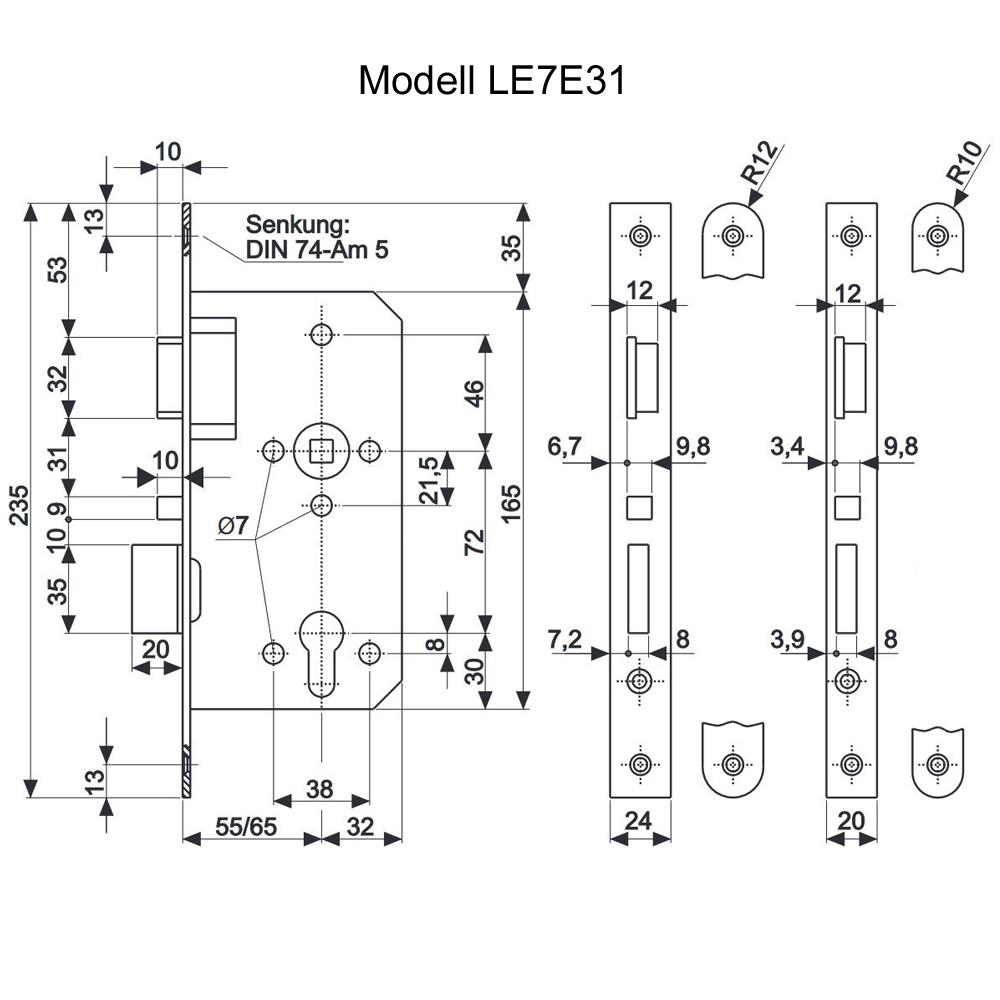 SALTO - Selbstverriegelndes Einsteckschloss mit Stahlriegelfalle und Schlossriegel - LE7E31x